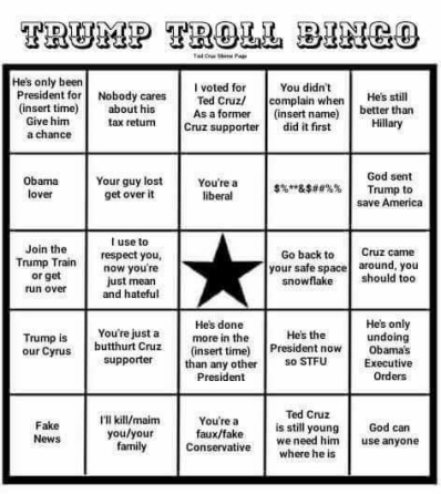 trump troll bingo